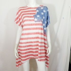 American Flag stars stripes Asymmetrical tunic top